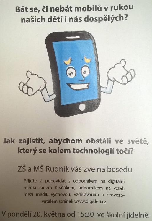 """Beseda na téma:""""Bát se, či nebát mobilů v rukou našich dětí i nás dospělých?"""""""